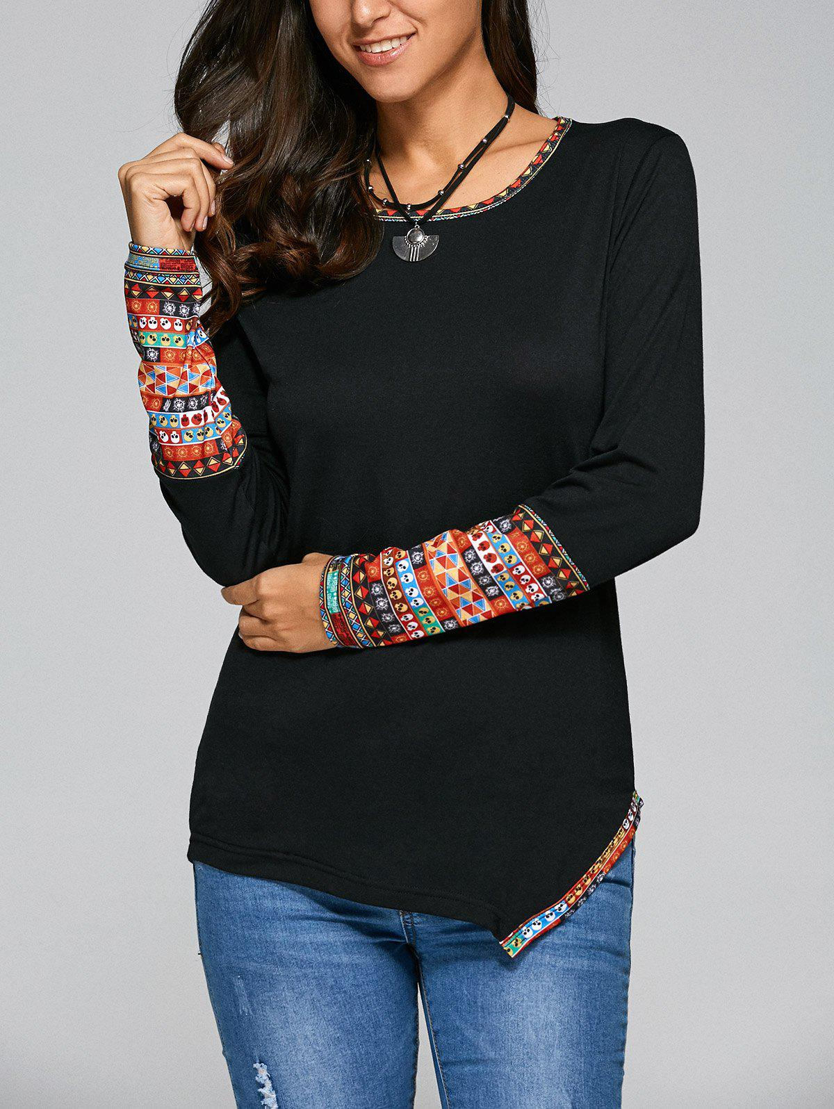 Casual Tribal Print Asymmetric Tee - BLACK L