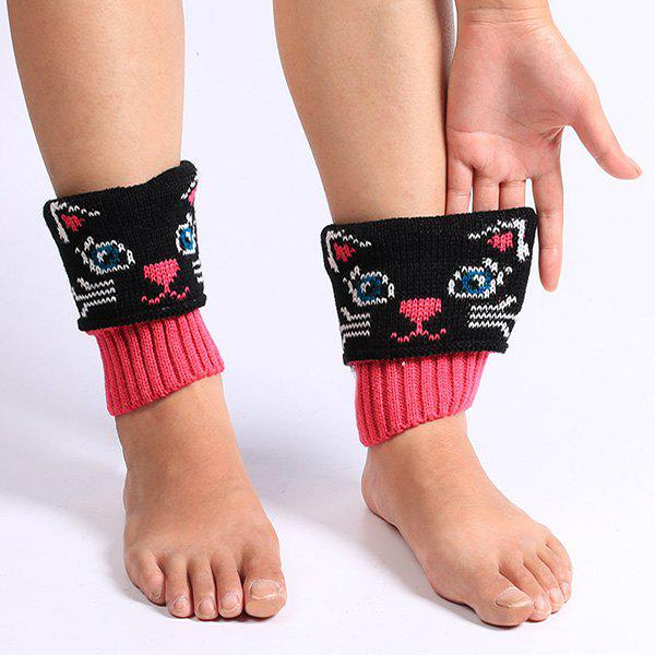 Cat Pattern Knit Boot Cuffs - BLACK