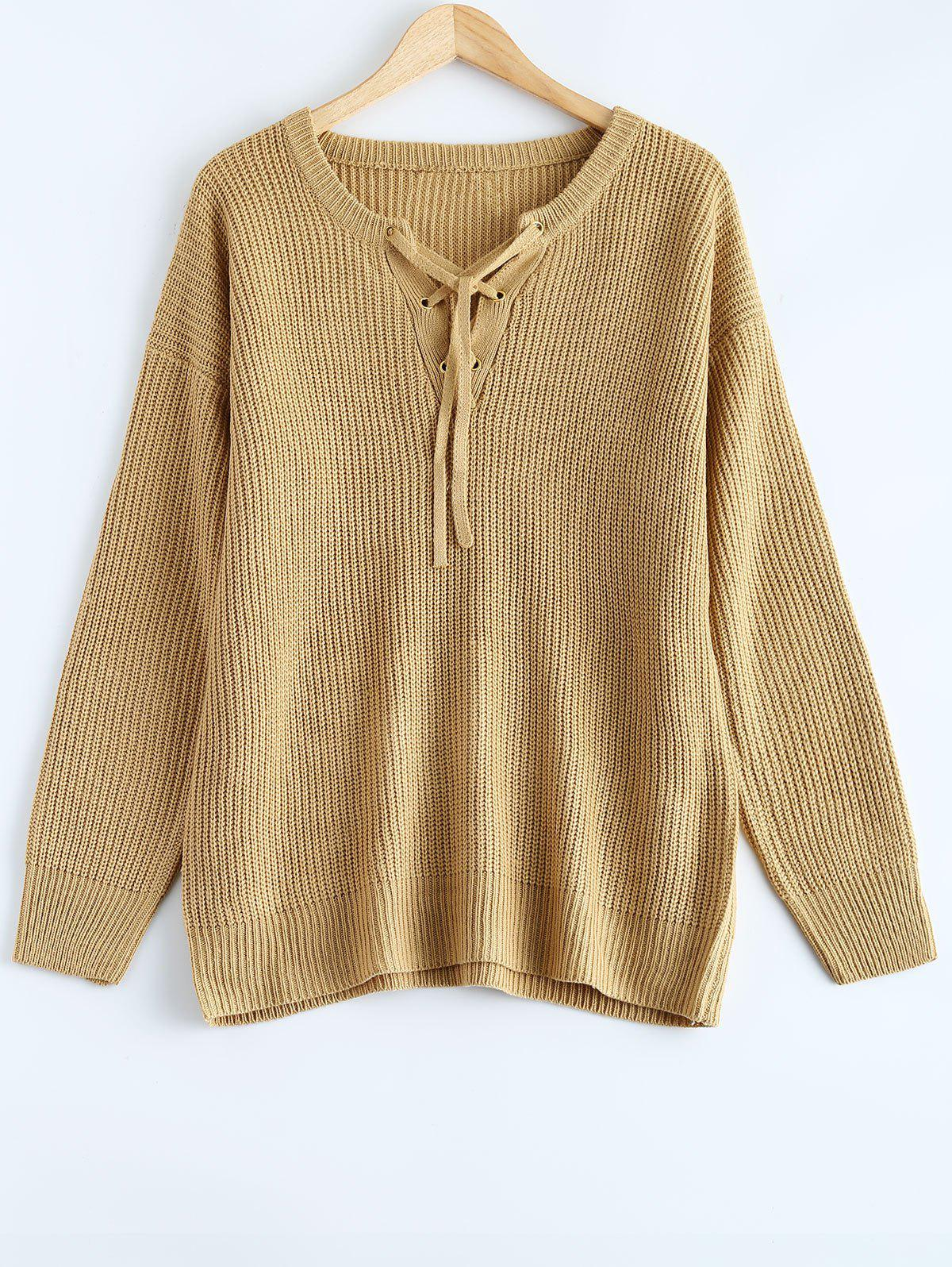 Lace Up Pullover Plus Size Sweater bear patched plus size pullover sweater