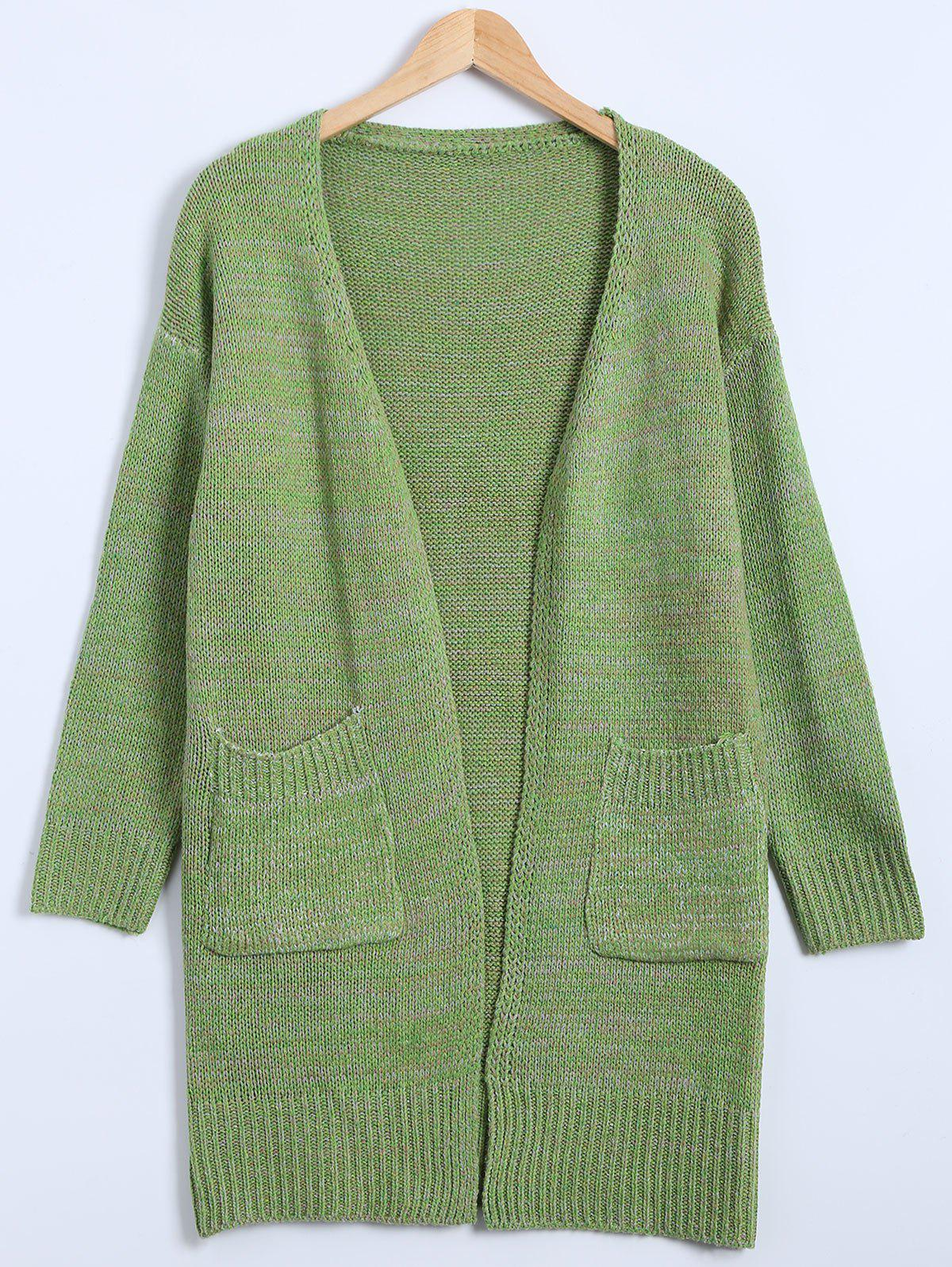 Automne Poches embellies Cardigan long - GREEN ONE SIZE