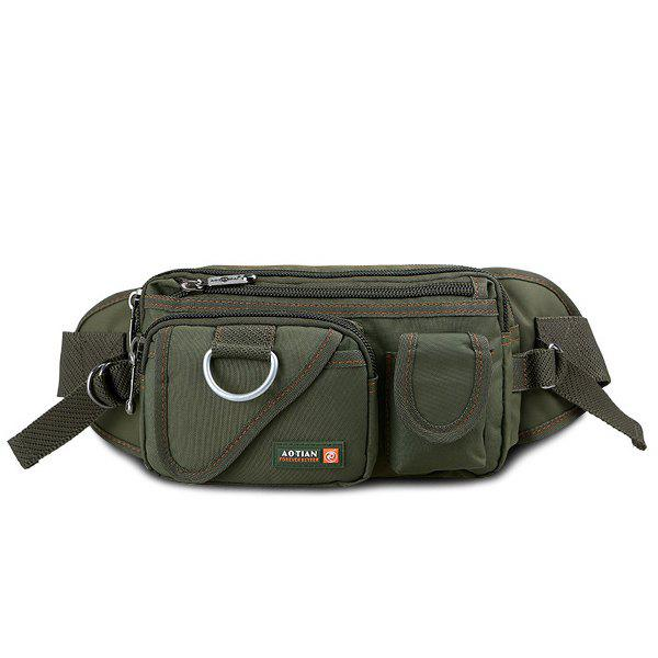 Couleur Dark Metal Pockets Messenger Bag - Vert Armée