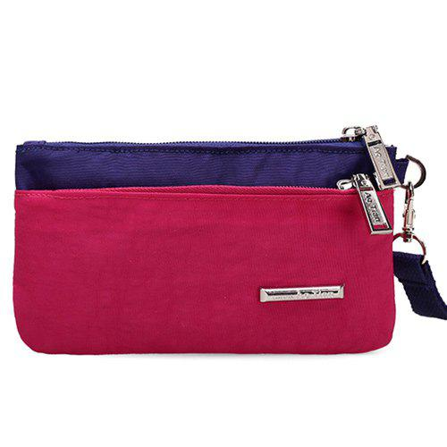 Zippers Métal Couleur Spliced ​​Pochette - rose