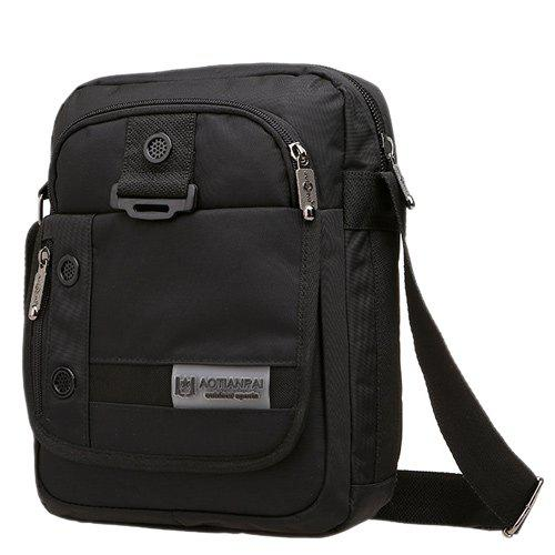 Deep Color Zippers Nylon Messenger Bag - Noir