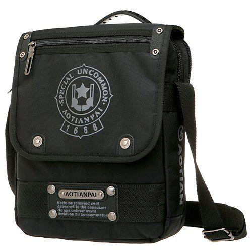 Couleur Dark Metal Zip Messenger Bag - Noir