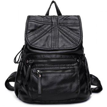 Zip Stitch Soft Flap Backpack