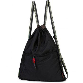 Drawstring Nylon Backpack - BLACK