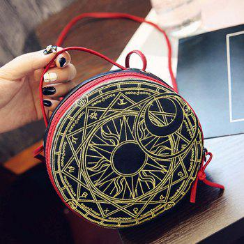 Abstract Geometric Pattern Round Shape Crossbody Bag