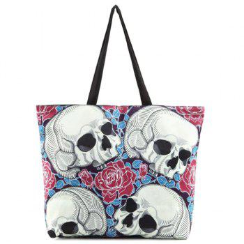 Floral Skull Printed Canvas Shoulder Bag