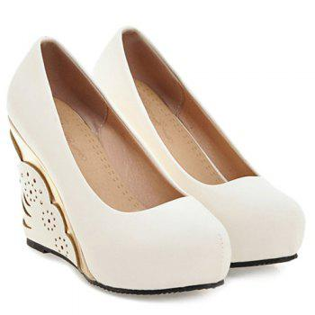 Metallic Round Toe Platform Wedge Pumps - WHITE WHITE