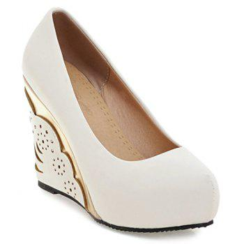 Metallic Round Toe Platform Wedge Pumps - WHITE 39