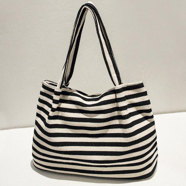Striped Shoulder Bag - BLACK