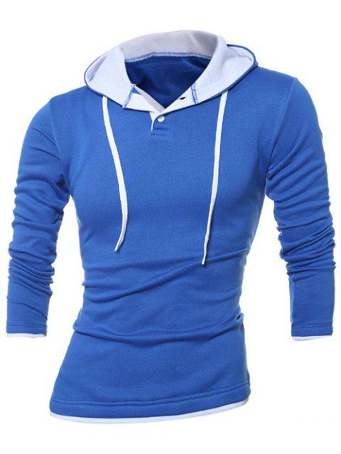 Button Up Contrast Trim Drawstring Hoodie - BLUE 3XL