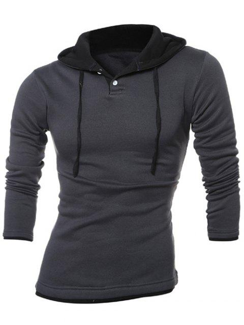 Button Up Contrast Trim Drawstring Hoodie - DEEP GRAY 2XL