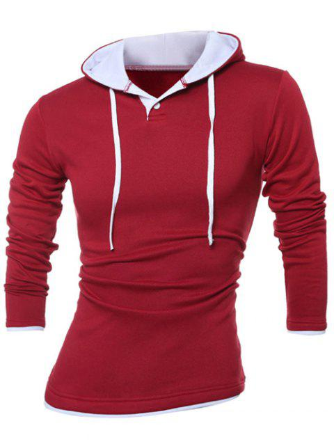 Button Up Contrast Trim Drawstring Hoodie - RED XL