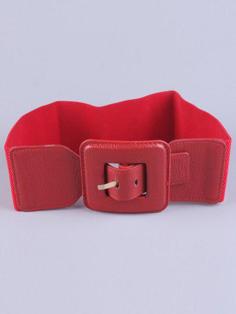 Big Square Pin Buckle Stretch Chunky Waist Belt - RED