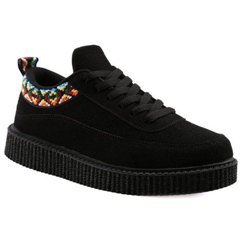 Suede Lace Up Geometric Pattern Casual Shoes - BLACK 42