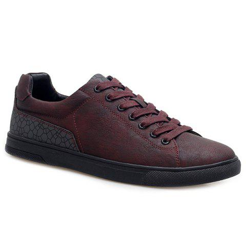 Geometric Print Tie Up Casual Shoes - WINE RED 44