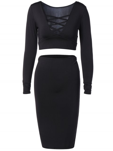 Criss Cross Crop Top + Bodycon Skirt Twinset - BLACK L
