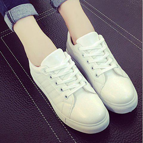 Stitching Tie Up PU Leather Athletic Shoes - WHITE 39