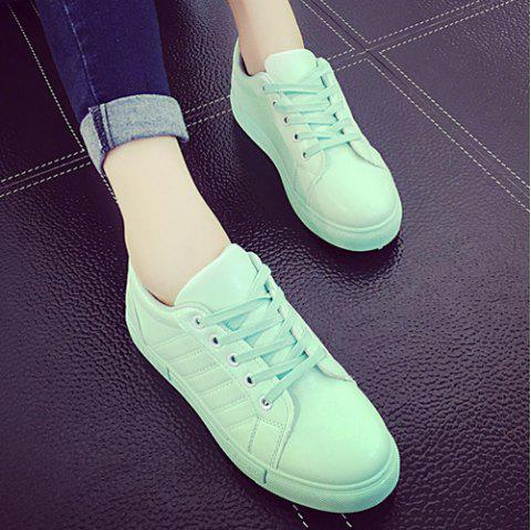 Stitching Tie Up PU Leather Athletic Shoes - LIGHT GREEN 37