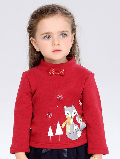Thicken High Neck Bowknot Cartoon Printed Long Sleeve T Shirt - WINE RED 100
