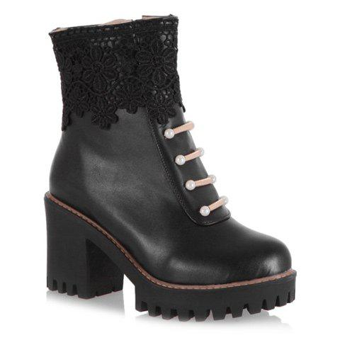 Chunky Heel Beading Lace Splicing Ankle Boots - BLACK 43