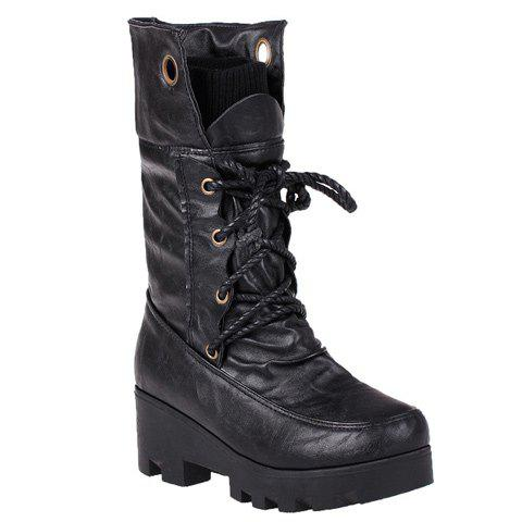 Lace Up Chunky Heel Ruched Mid Calf Boots - BLACK 43