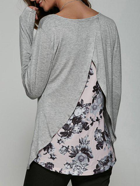 Back Surplice Floral Print Casual T-Shirt - GRAY S