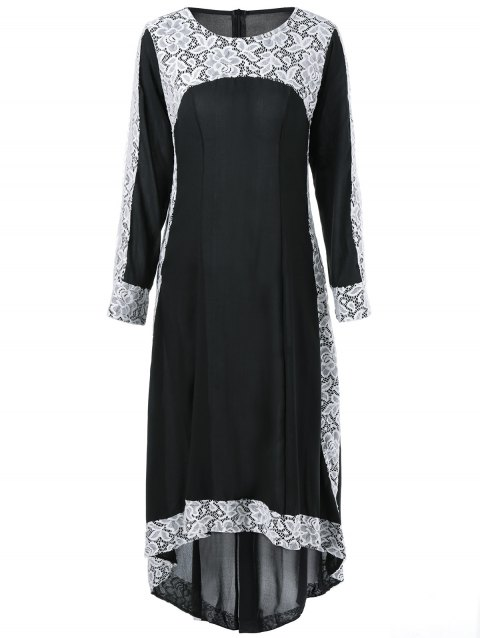db9d1a57681a6 41% OFF] 2019 Maxi Lace Insert High Low Long Sleeve Dress In BLACK ...