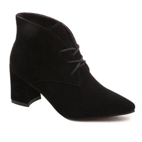 Lace Up Point Toe Chunky Heel Suede Ankle Boots - BLACK 37