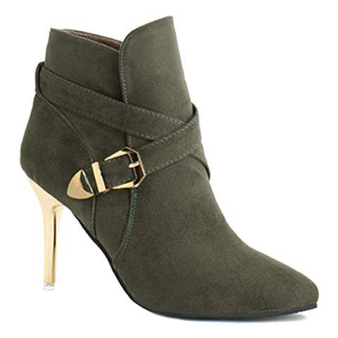 Point Toe Stiletto Heel Cross Strap Buckle Suede Ankle Boots - BLACKISH GREEN 38