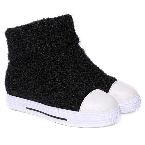 Flat Round Toe Fold Over Cable Knit Boots - BLACK 39