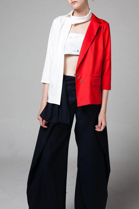 Asymétrique Color Block Blazer - Rouge L