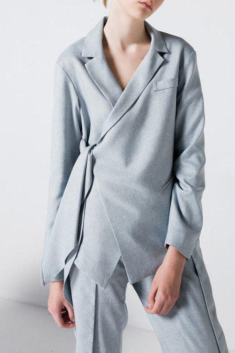 Tied Asymmetric Blazer - Gris Clair L