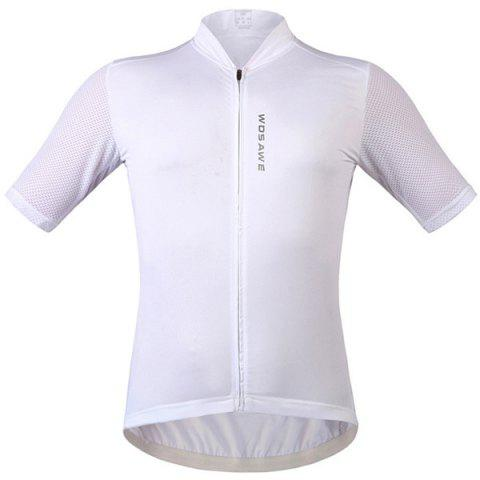 Full Zipper Breathable Short Sleeve Summer Cycling Jersey - WHITE L