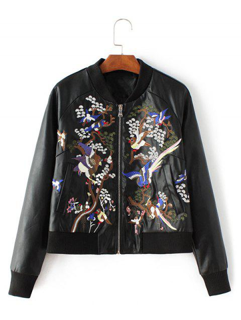 48aa1b2d9 PU Leather Bird Embroidered Bomber Jacket