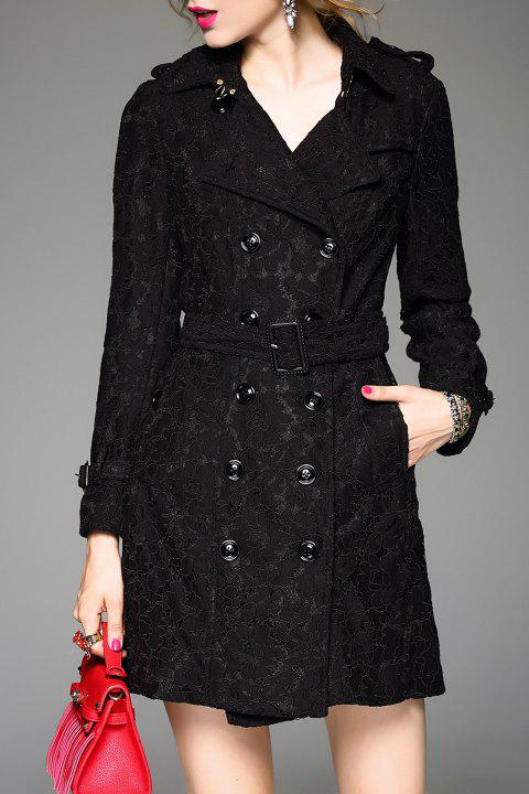 Lace Belted A Line Tench Coat - BLACK XL