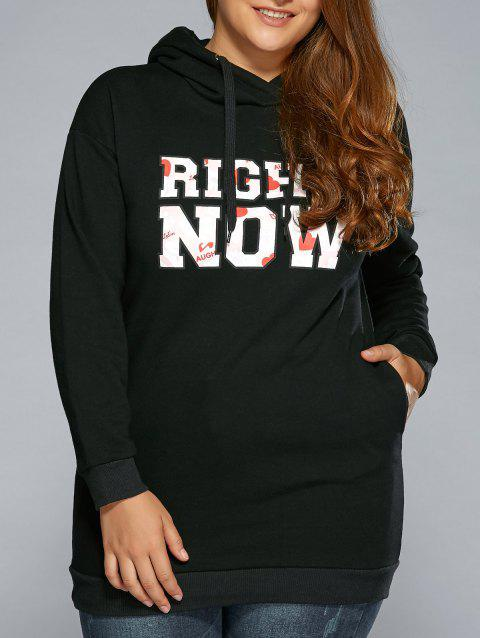 Long Letter String Long Hoodie - BLACK XL