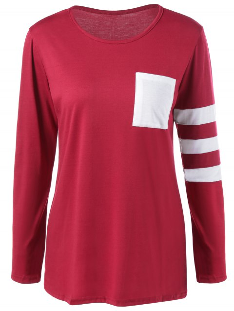 Pocket Striped T Shirt - WINE RED L