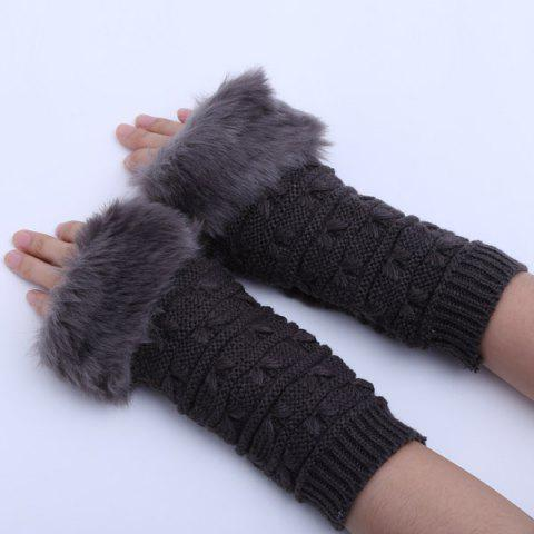 Winter Warm Plush Knitted Fingerless Butterfly Gloves - DEEP GRAY