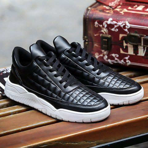 Lace Up PU Leather Plaid Pattern Casual Shoes - BLACK 42