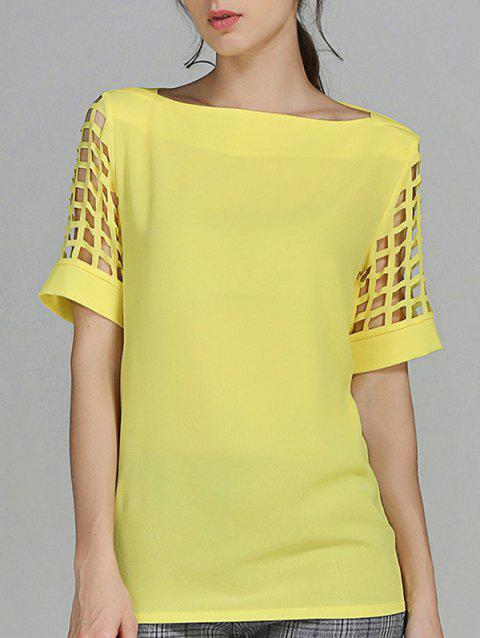 Openwork Candy Color T Shirt - YELLOW 5XL