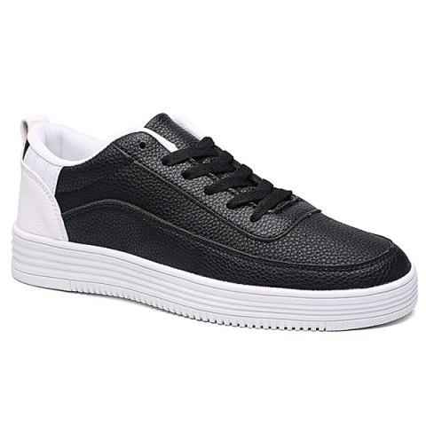Lace Up PU Leather Breathable Casual Shoes - WHITE/BLACK 44