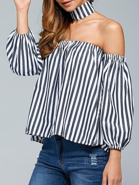 ce42727b531 41% OFF] 2019 Off The Shoulder Top With Choker In WHITE/BLACK ...