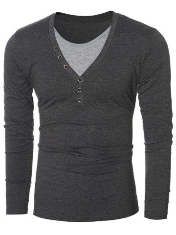 12f8d78cb6b8 Round Neck Long Sleeves Button Embellished T-Shirt