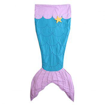 Warm Embroidered Flannel Double Layer Kids' Mermaid Tail Sleeping Bag Blanket - LAKE BLUE LAKE BLUE