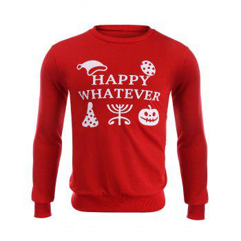 Happy Whatever Print Halloween Topic Sweatshirt
