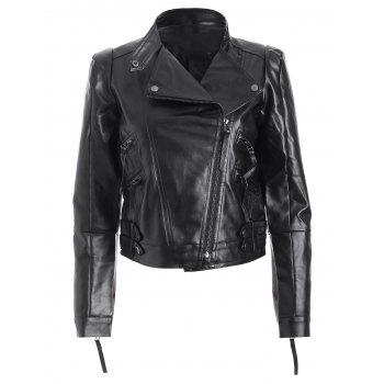 Spliced Zippered PU Biker Short Jacket