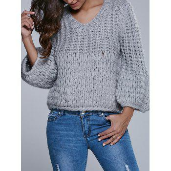 Faux Mohair Puff Sleeve Short Sweater