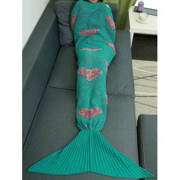 Colorful Peach Heart Crochet Knitting Mermaid Tail Style Blanket